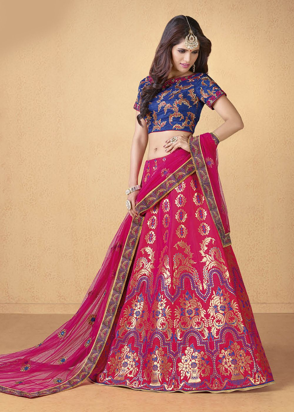 75fc52d815 ... Extravaganza - Buy online, Work: Embroidered, Resham Work, Woven, Zari,  Color : Pink, Occassion : Engagement, Reception, Wedding, Fabric:Classic  Style, ...