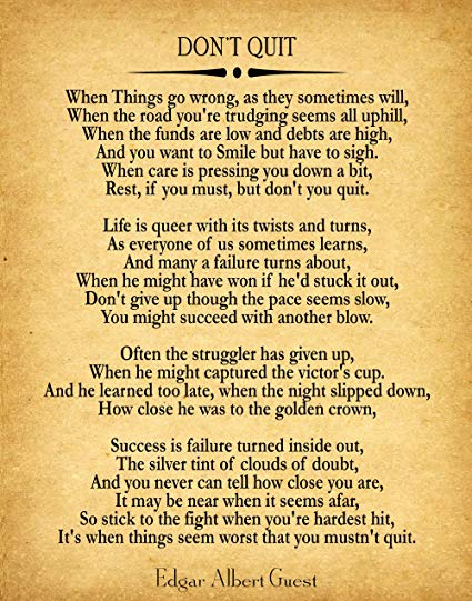 Don T Give Up Poem Google Search Motivational Poems For Success Motivational Poems Quites