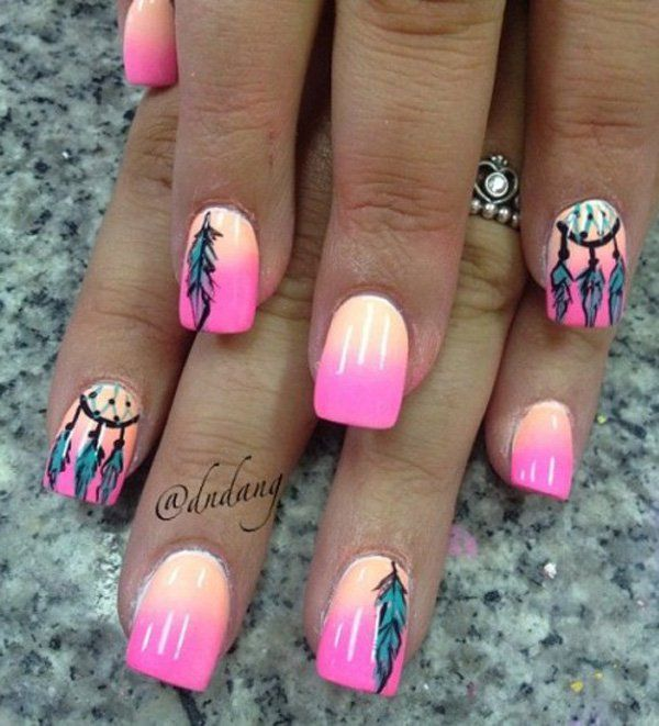 40 Examples Of Feather Nail Art Feather Nails Feather