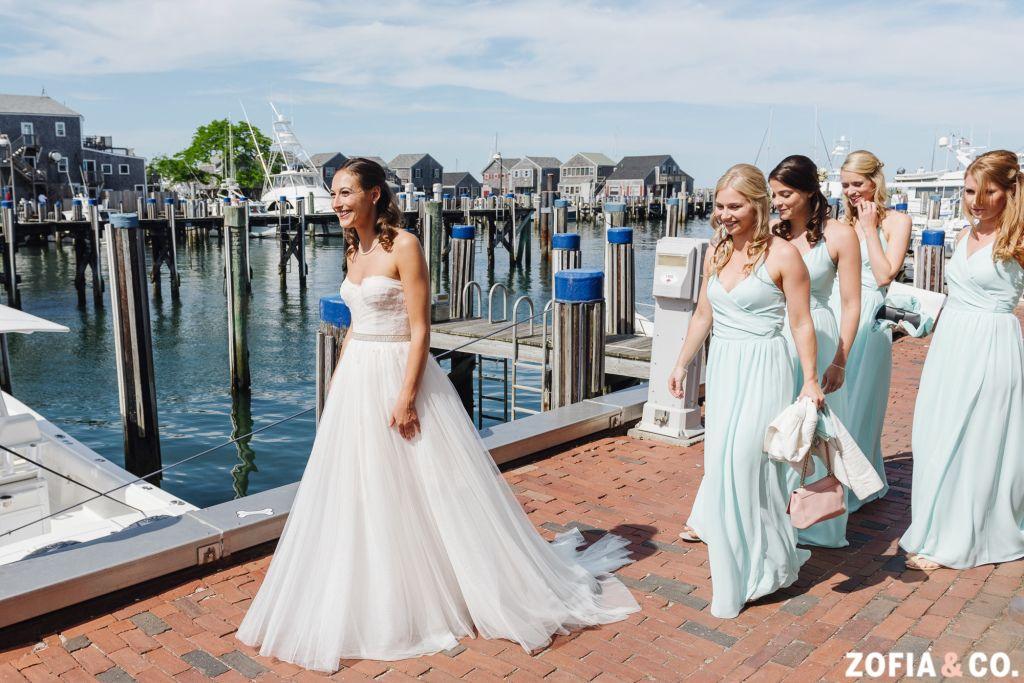 Monique Lhuillier Gown, Joanna August Bridesmaids, #Nantucket wedding photography, Zofia & Co. Photography