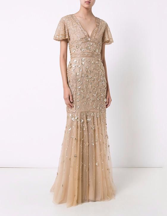 aa10e4e8d79 Gold Tulle and Floral Embroidered V-Neck Gown – J. Mendel
