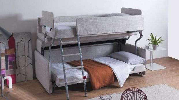 A Modern Miracle A Mini Sofa That Turns Into A Bunk Couch Bunk Beds Bunk Beds With Stairs Ikea Bunk Bed