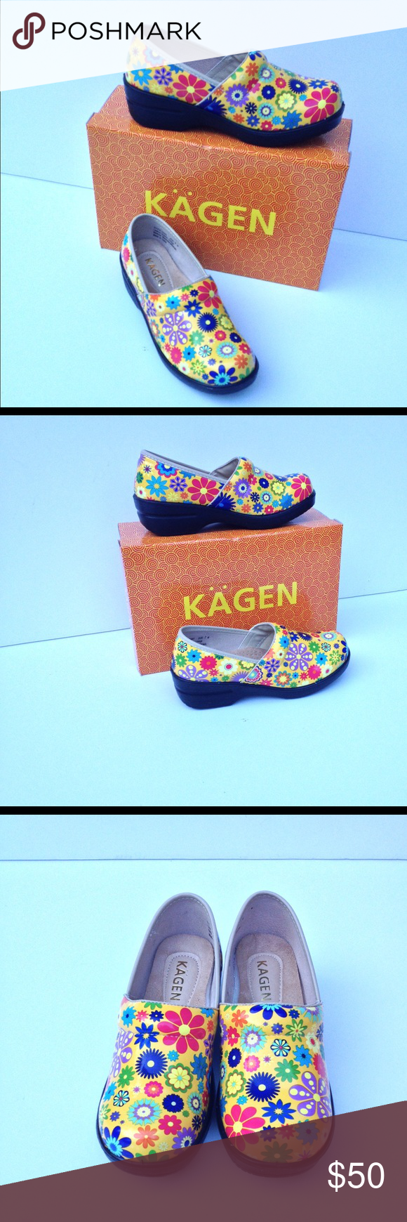 NEW KAGEN SLIP RESIST OCCUPATIONAL SHOE YELLOW FLR Oh so comfy-They ...
