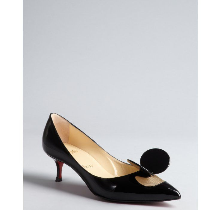 Christian Louboutin Black Patent Leather Madame Mouse Ear Pointed Toe Kitten Heels Christian Louboutin Kitten Heels Red Bottom Heels Christian Louboutin
