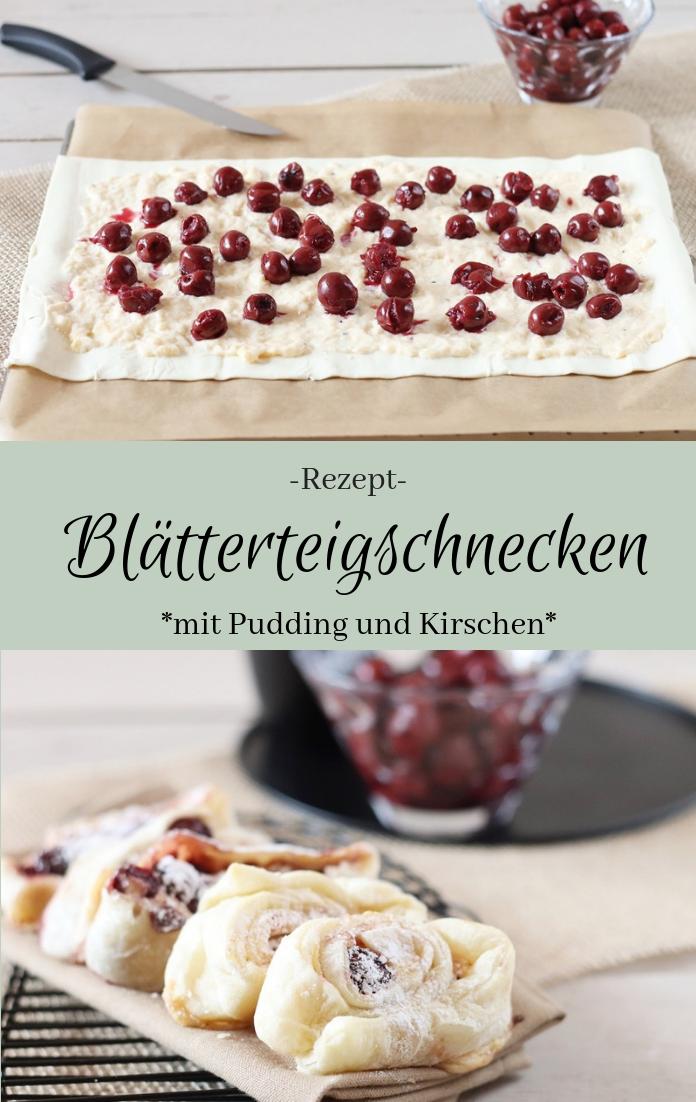 Rezepte mit Blätterteig: Blätterteigschnecken, süß und lecker, mit Pudding und Kirschen | Schnelles Rezept, wenn sich spontan Besuch ankündigt #blätterteig #blätterteigschnecken #ratzfatz