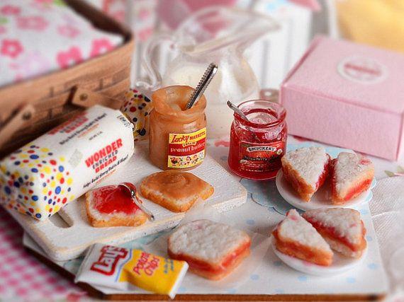 10 Sliced of Bread with Strawberry Jam Dollhouse Miniature Food Bakery Breakfast