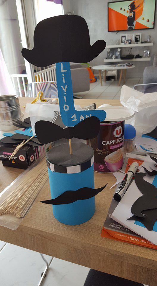 Centre de table moustache bapt me livio pinterest - Pinterest centre de table ...