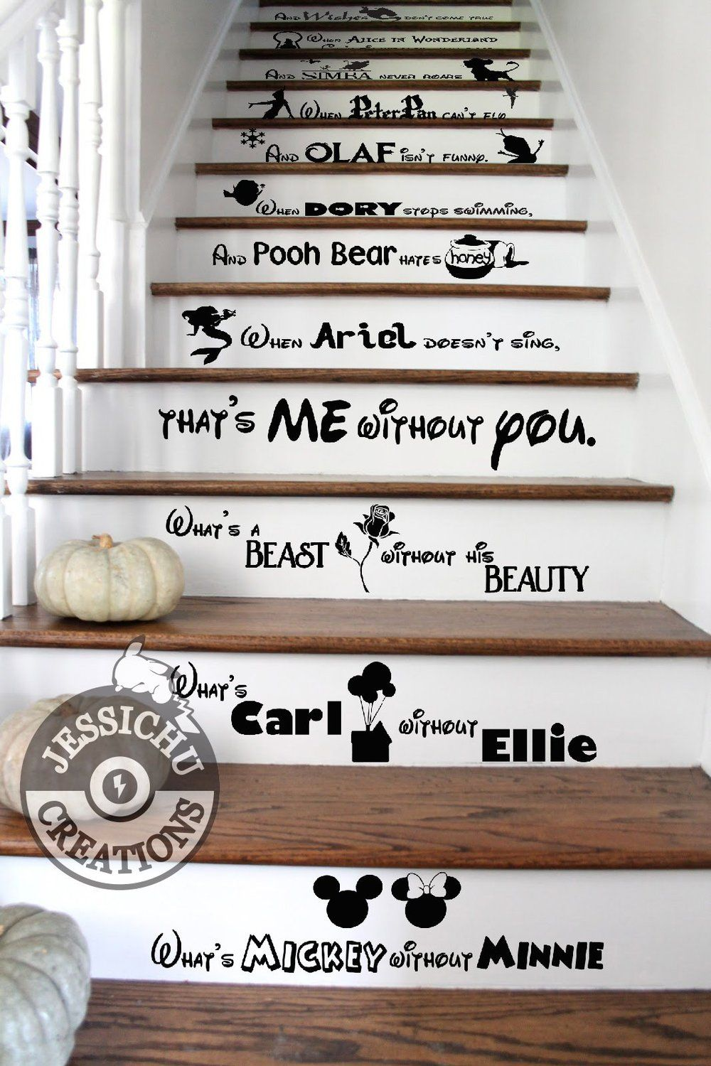 What's Mickey Without Minnie Stairs Vinyl Decal - Home Decor Decals #disneyhousedecor