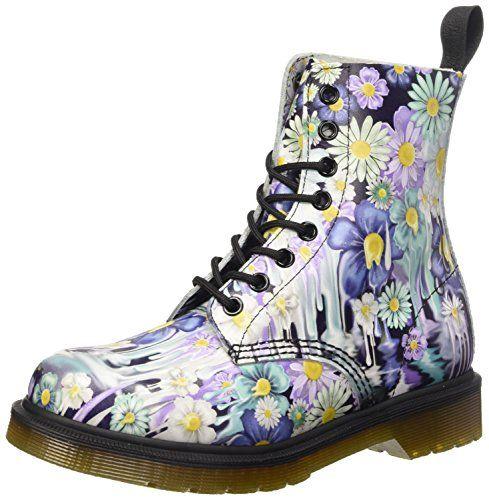Dr. Martens Women's Slime Floral Pascal 8-Eye Boot,Purple Paint Slick  Backhand