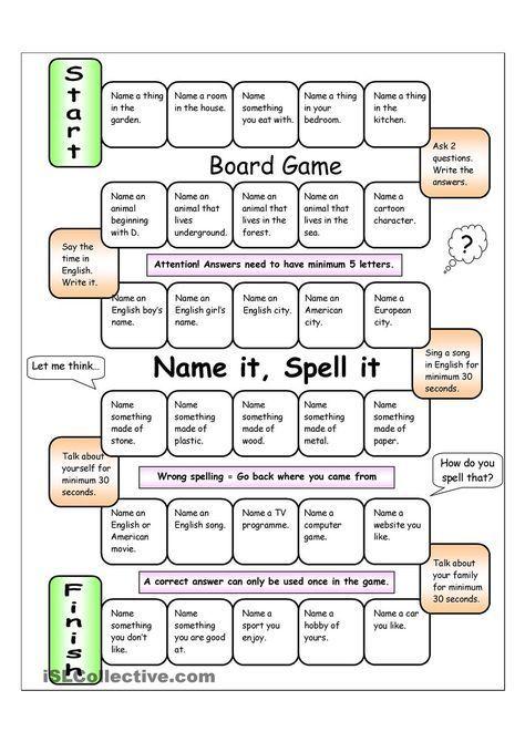 Board Game - Name it, Spell it (Easy) | Board games, Esl ...