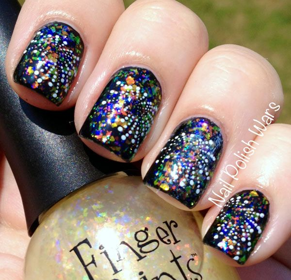 NYE fireworks nails in a jar nail art photography - New Years Eve Calls For Firework & Sparkle Nails. Nail It