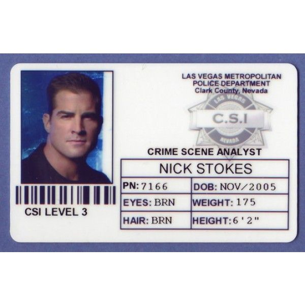 csi id cards nick stokes prop csi police id card las vegas from id