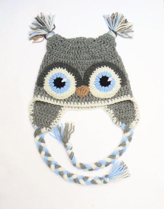 Owl Hat, Kids Hat, Crochet Owl hat, Kids Winter Hat, Crochet Kids ...