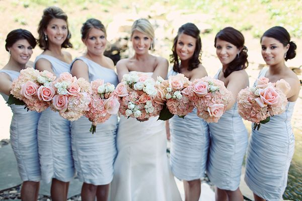 Light blue bridesmaid dresses bridesmaids pinterest wedding light blue bridesmaid dress and blushpeachpink flowers mightylinksfo