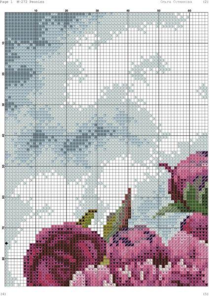 Схемы вышивки розовые пионы