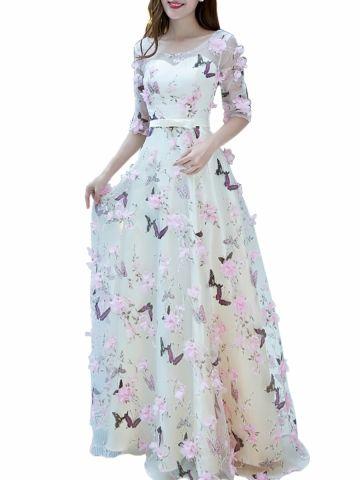 39bffe7c94 kup damskie wieczorowa sukienka w kwiatki Dekorowana słodka sukienka dla  druhny   Suknie na ślub i eventy - w Jollychic