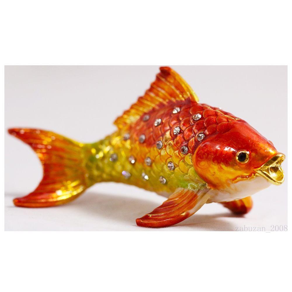 BEJEWELED RHINESTONE CRYSTAL ENAMEL TRINKET BOX - GOLD FISH