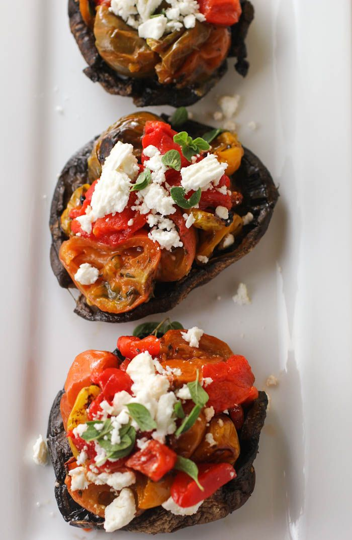 Stuffed Portobello Mushrooms with Roasted Tomatoes, Peppers and Feta Cheese
