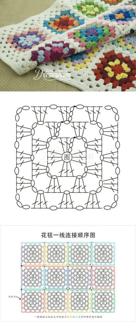 1uadrado | cuadrados | Pinterest | Ganchillo, Croché y Ganchillo crochet