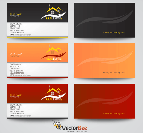 Real Estate Business Card Designs Free Vectors Pinterest