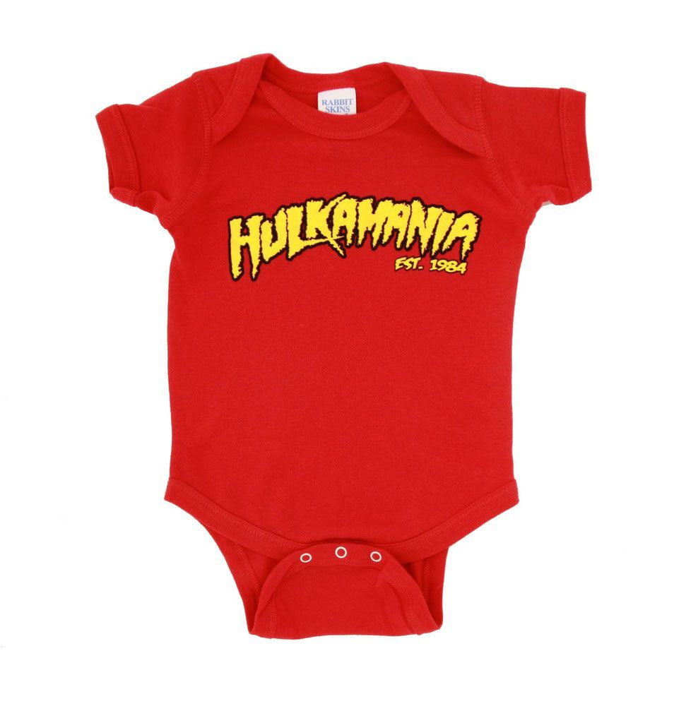WWE Hulkamania World Champ Costume Yellow Snapsuit Infant  Baby Romper