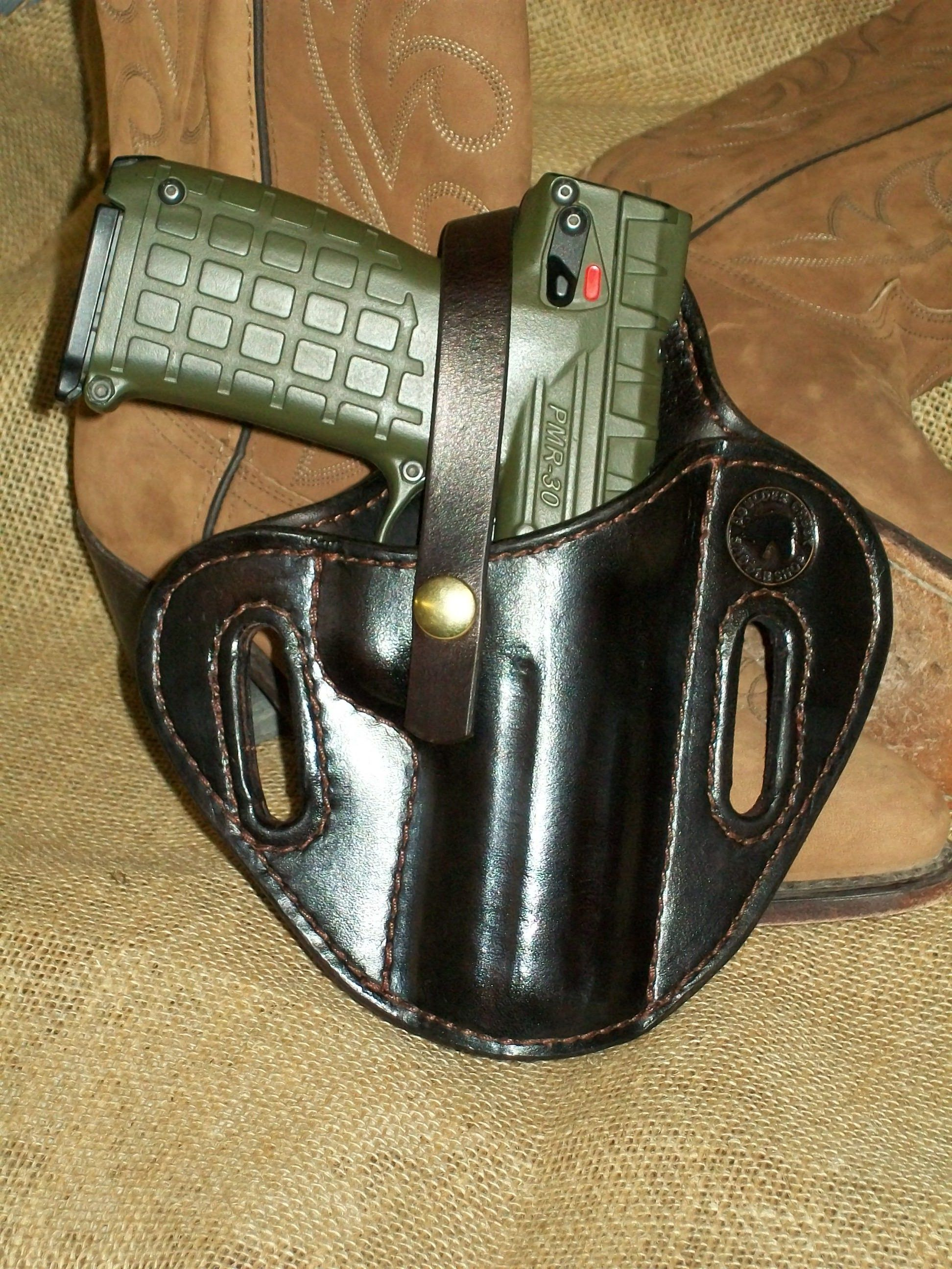 Pancake holster for a Kel-tec PMR30 pistol made at Boulder Creek