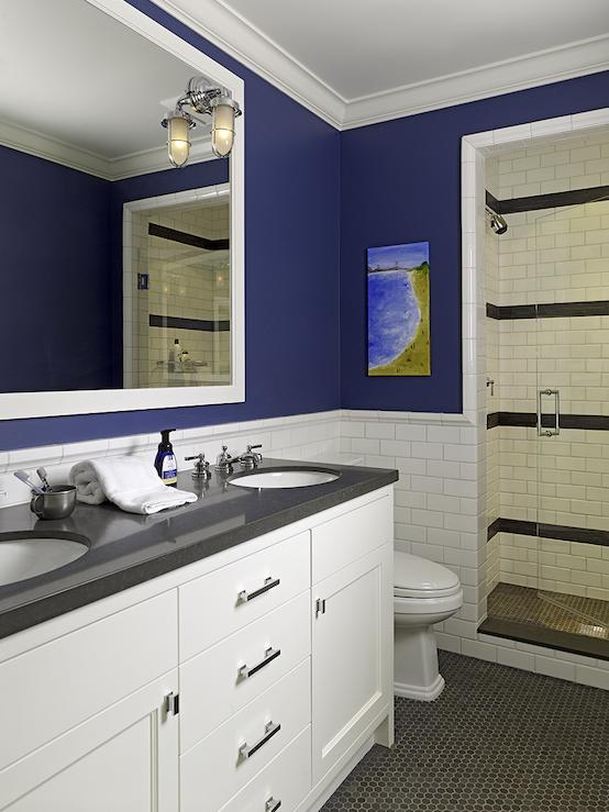 Suzie Artistic Designs For Living Cute Boys Bathroom Design With Bold Blue Walls Paint Boys Bathroom Latest Bathroom Designs Bathrooms Remodel