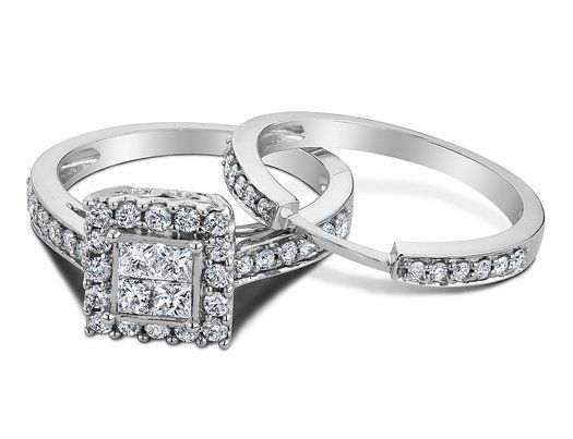 Princess Cut Diamond Engagement Ring Wedding Band Set 1 2 Carat