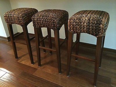 Set Of 3 Pottery Barn Seagrass Backless Barstools No Reserve