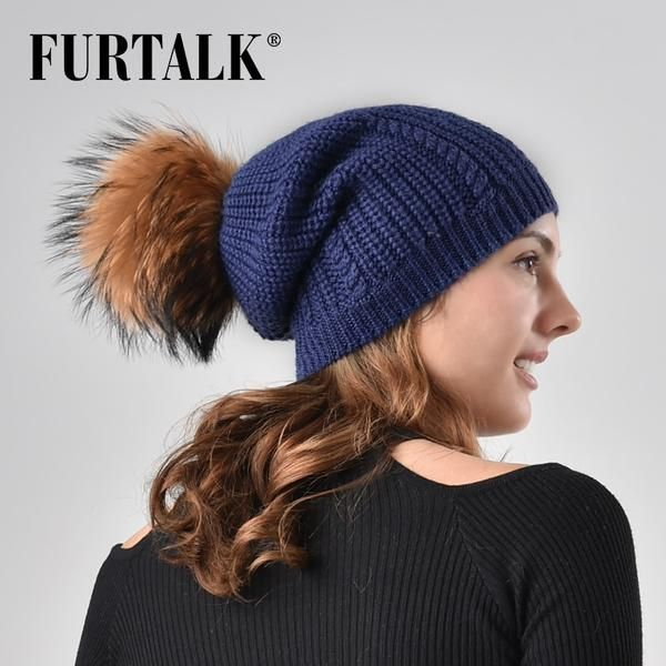 5063775e3eb1a3 FURTALK Real raccoon fur pompom hat for women winter wool knitted beanie  skullies slouchy girl hats AD009 #Discounts #BestPrice