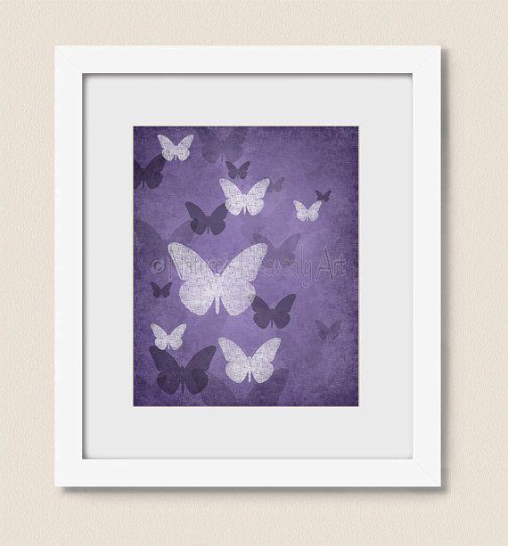 Deep Purple Wall Decor For Girls Room 8 X 10 Bedroom Butterfly Wall Art Nature Artwork Home Decor 313