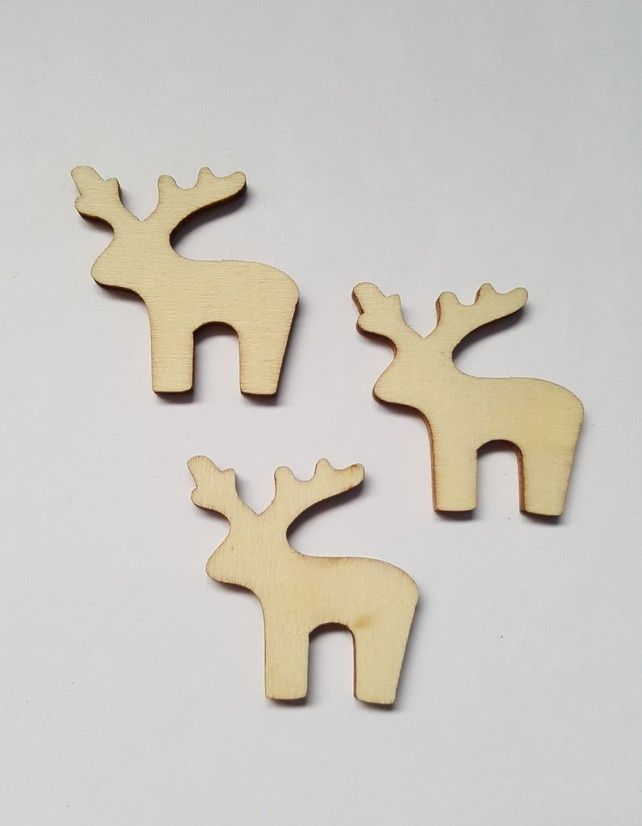 10 x Mini Blank Wooden Craft Shapes - 30mm - Reindeer