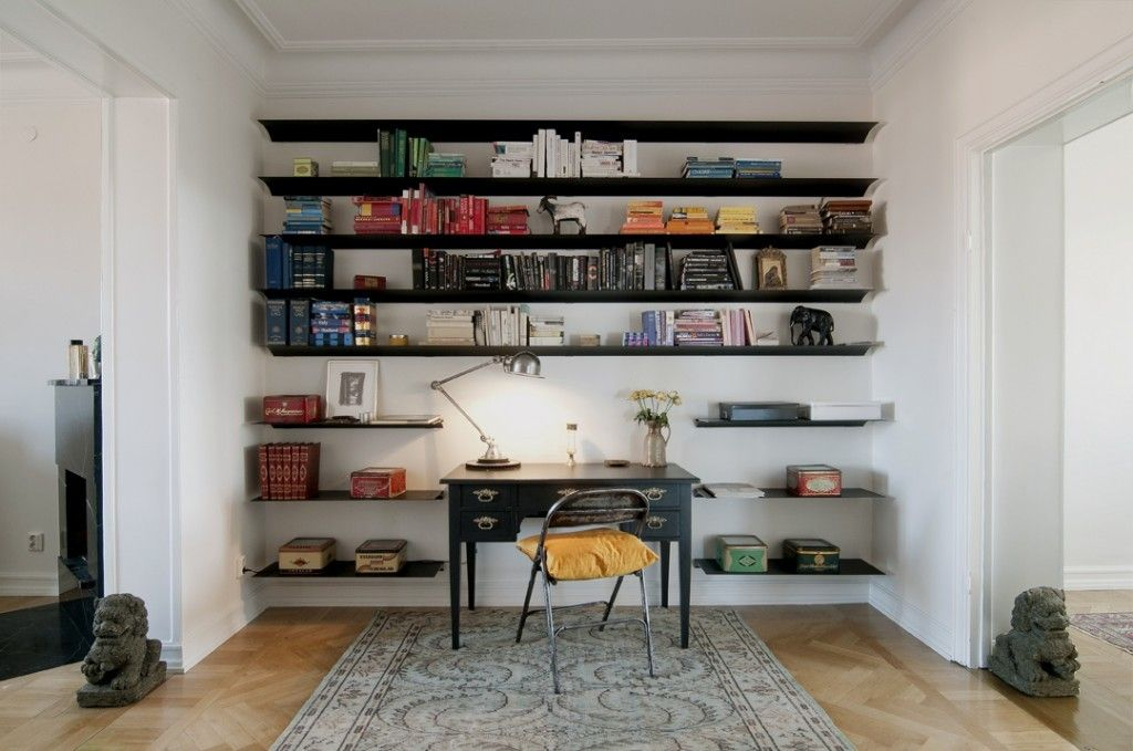 A Well Organized Chaos In Your Home Office Home Design Ideas Wall Mounted Bookshelves Wall Bookshelves Home