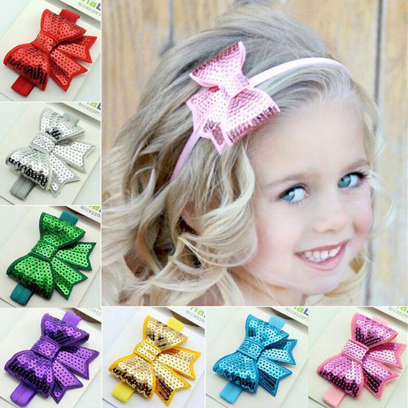 Baby Girls Kid Sequin Bowknot for Headband Hair Band Bow Accessory Headwear