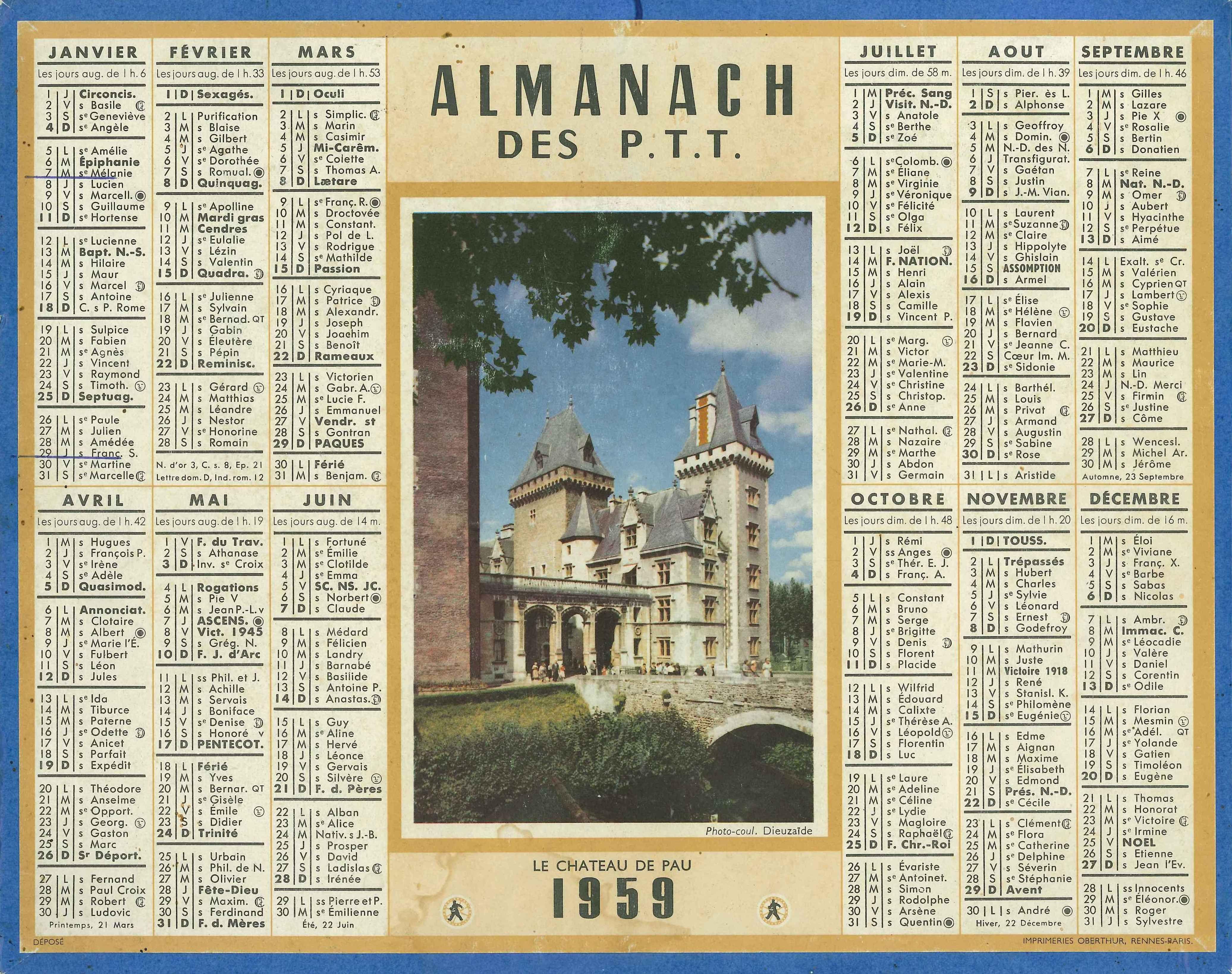 Almanach des Postes 1959