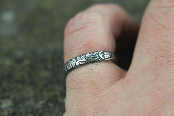 Sterling Silver Floral Vine Promise Ring Embossed Art Nouveau