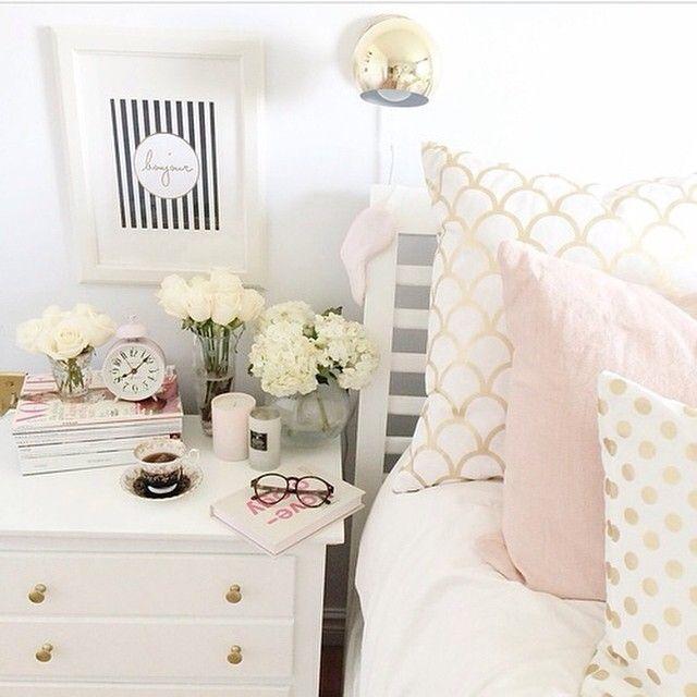 Gold Rosa Weisse Bettwasche Schlafzimmer Dekorieren