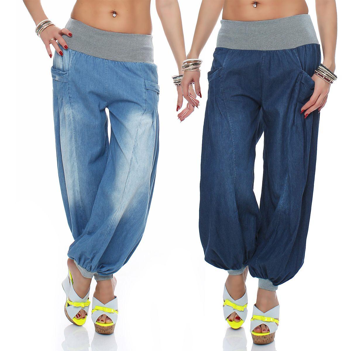 Damen Jeans Sommerhose Haremshose Muckhose Aladinhose Pluderhose ...