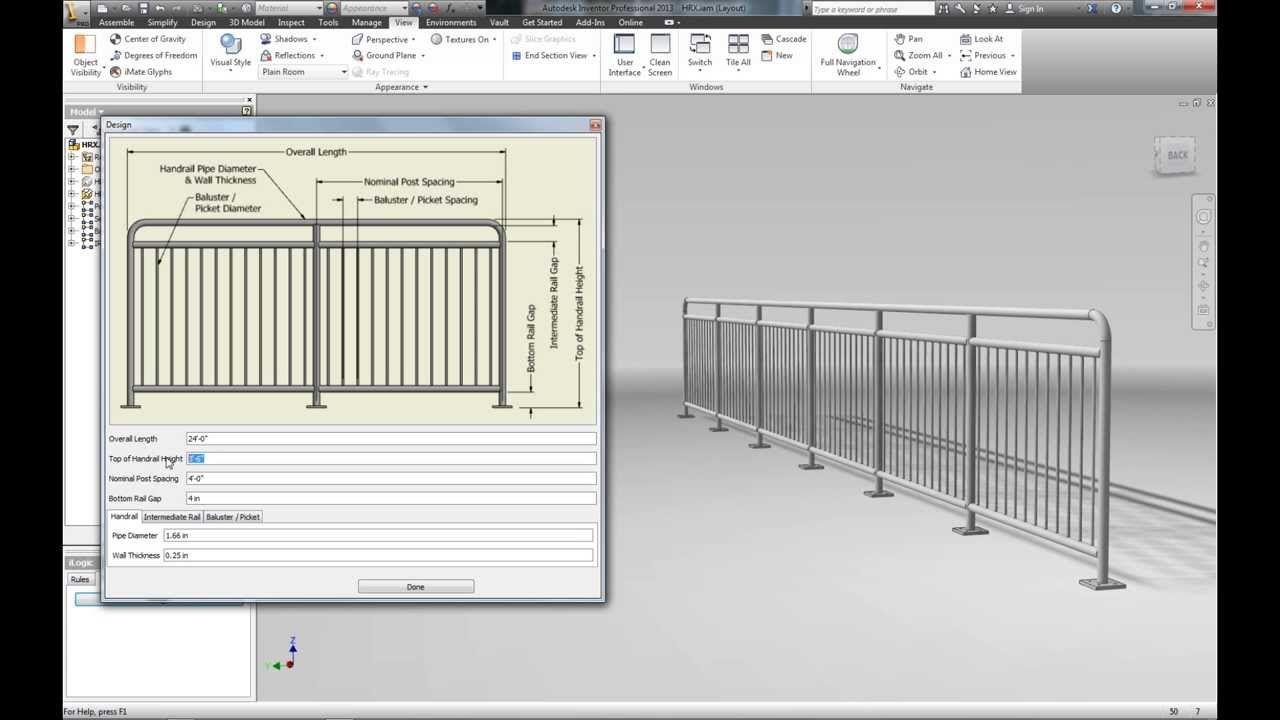 Autodesk Inventor Ilogic Handrail Inventor Ilogic