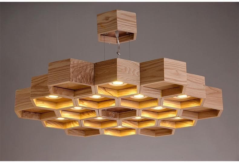 wholesale dealer 53746 04141 Wood Honeycomb Chandelier Light Fixture | illuminated object ...