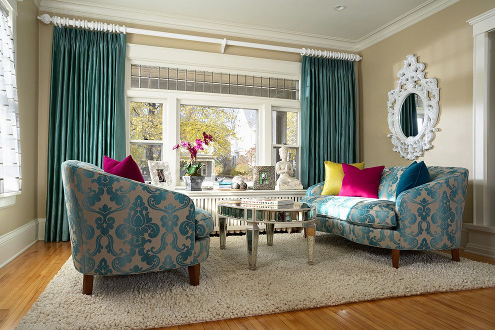 Julie Dasher Blue Damask Sofa Chairs Couch  Damask Delectable Blue Curtain Designs Living Room Decorating Design