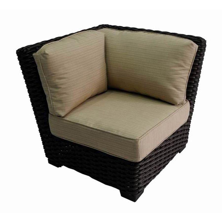 Allen Roth Blaney Brown Steel Patio Conversation Chair