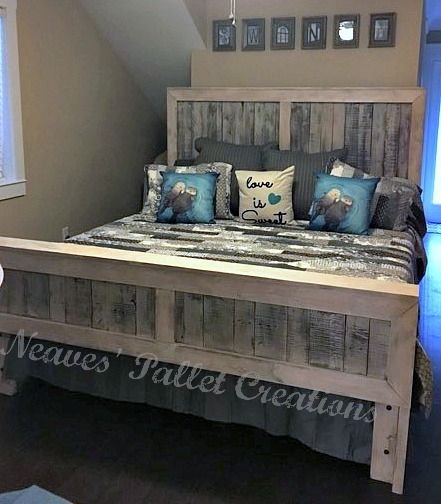 RECYCLED PALLET WOOD: King size Headboard and Foot board. It has a ...