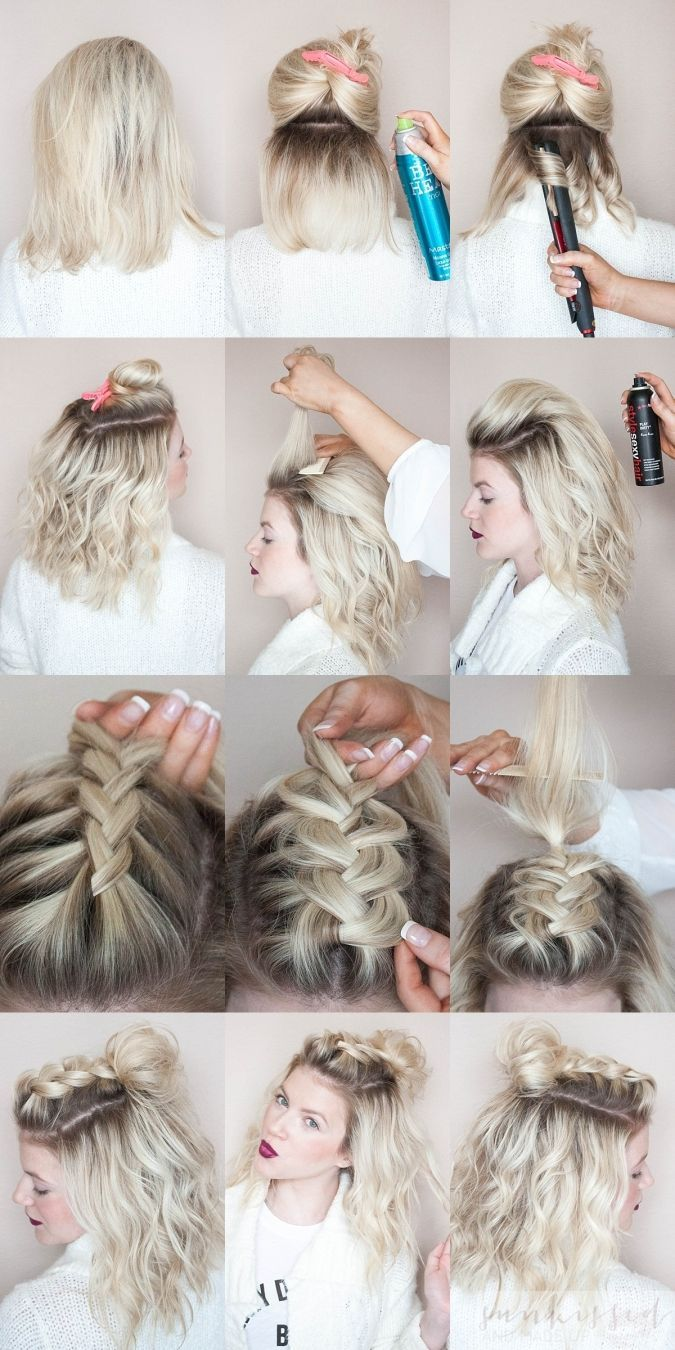 Sunkissed and made up half top knot blonde braids and knotted braid