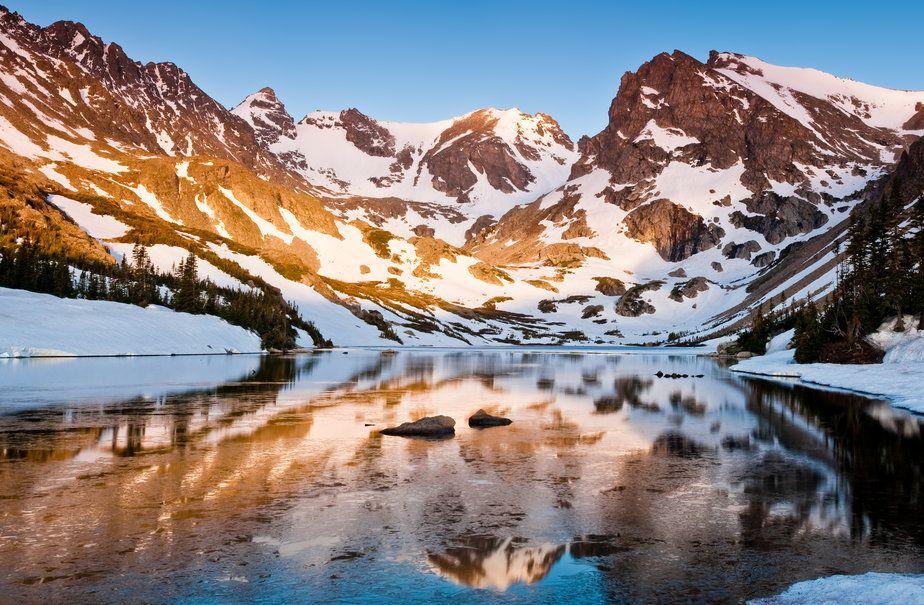 Nature, montagnes, lac, réflexion, spotty Wallpaper