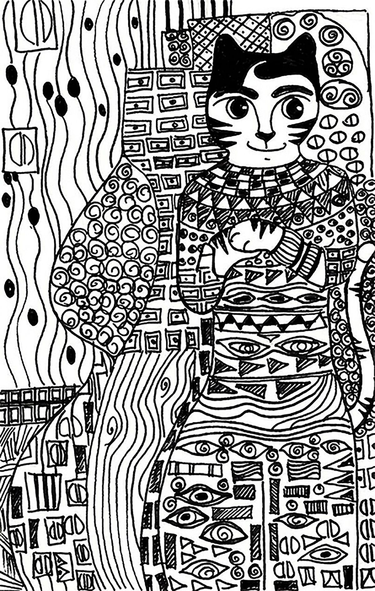 Cat gold phase klimt Cats Coloring Pages for Adults