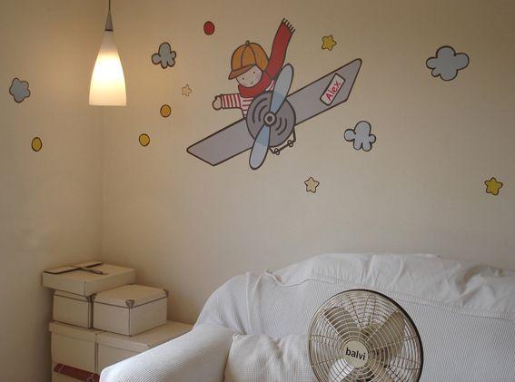 vinilo infantil aviador en habitaci n ni o deco kids On vinilo habitacion nino