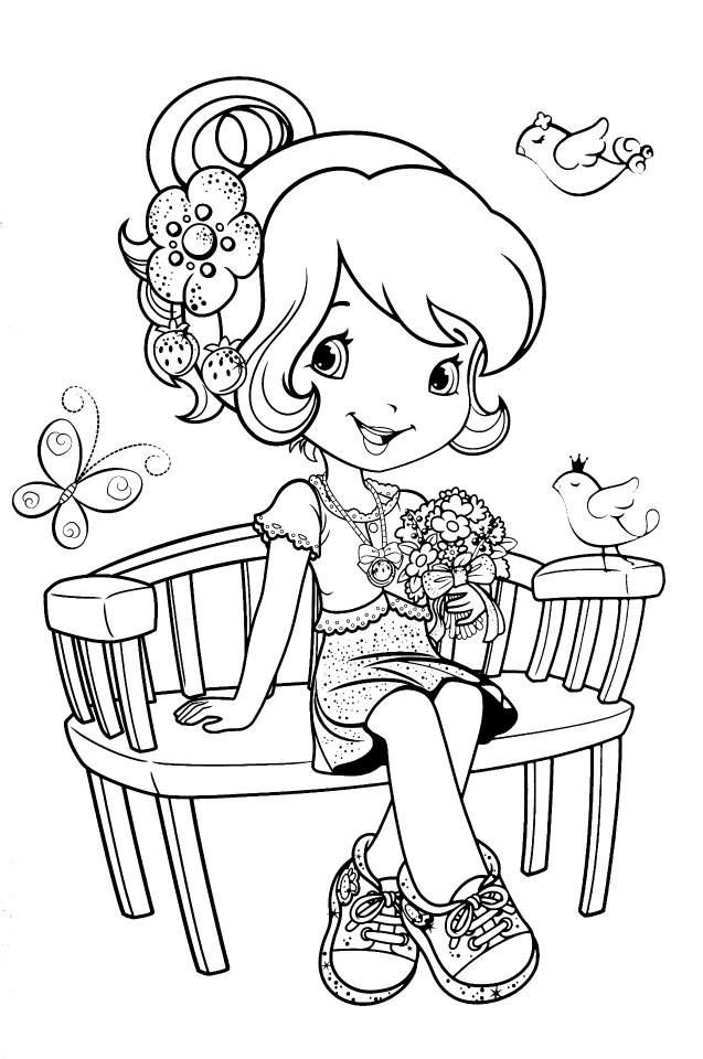 Strawberry Shortcake on a bench with flowers | Colouring Pages for ...