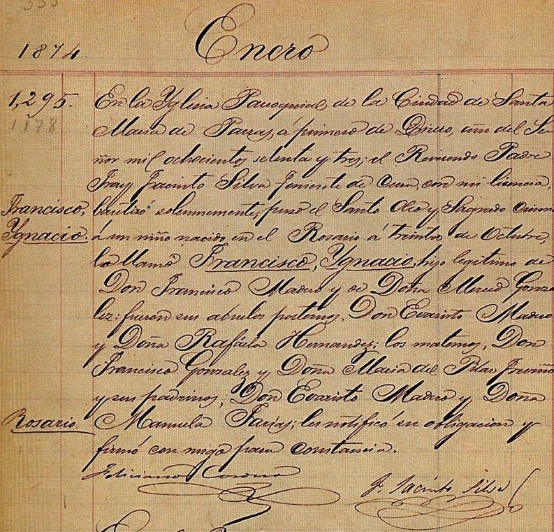 Acta de Nacimiento de Francisco I. Madero | Mexican Travel Ads ...