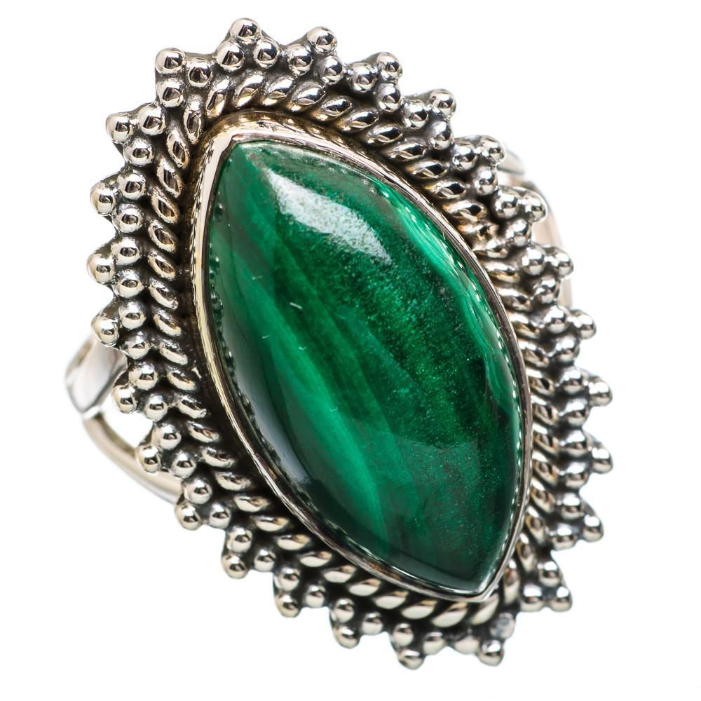 Ana silver co malachite sterling silver ring size ring